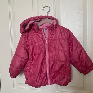 Uniqlo 18-24m pink puffer jacket with hoodie